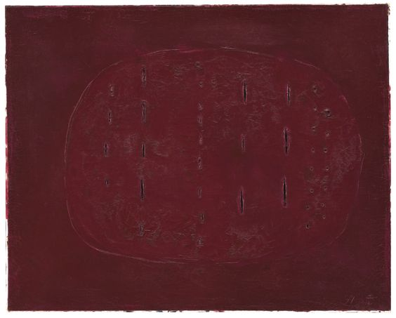 LUCIO FONTANA 1899 - 1968 CONCETTO SPAZIALE SIGNED; SIGNED, TITLED AND DATED 1960 ON THE REVERSE, OIL, HOLES, CUTS AND GRAFFITI ON CANVAS