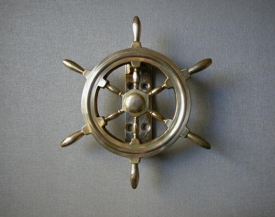 Vintage brass ship wheel dook knocker nautical door knocker vintage nautical and steering wheels - Nautical door knockers ...