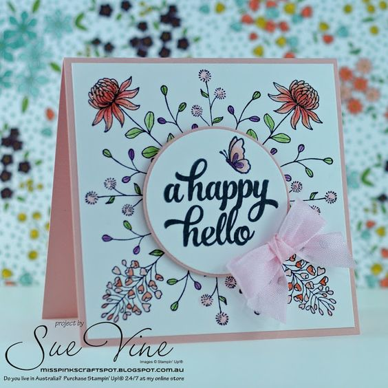 Sue Vine | MissPinksCraftSpot | Stampin' Up!® Australia Order Online 24/7 |2016 Sale-a-Bration Catalogue | Flowering Fields | Handmade Card #stampinup #floweringfields #tinofcards: