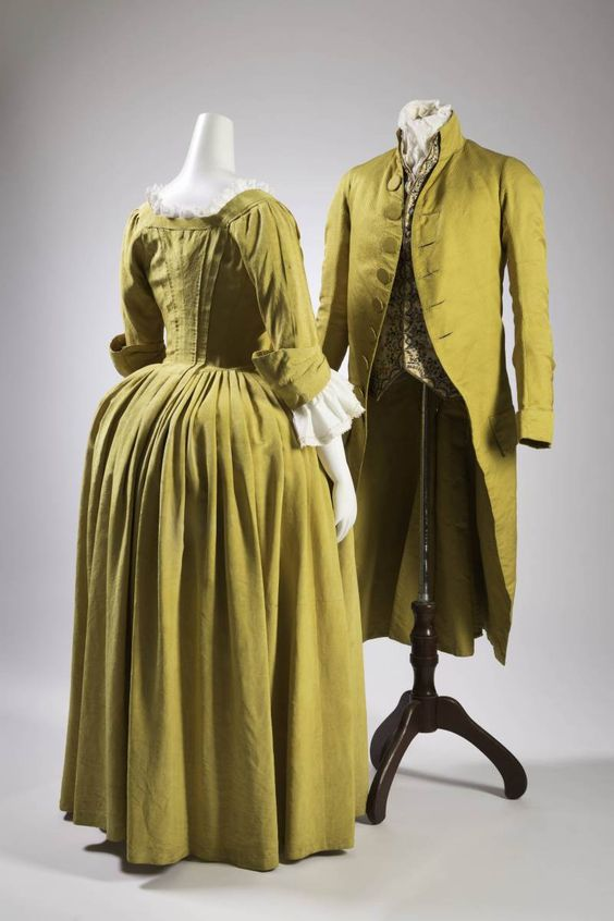 Robe à l'anglaise ca. 1770 and jacket and waistcoat ca. 1790