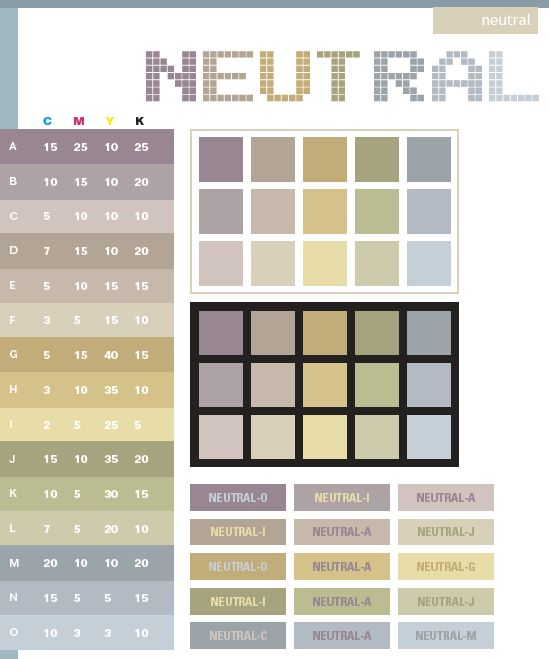 Neutral Color Schemes Combinations Palettes For Print CMYK And Web RGB HTML