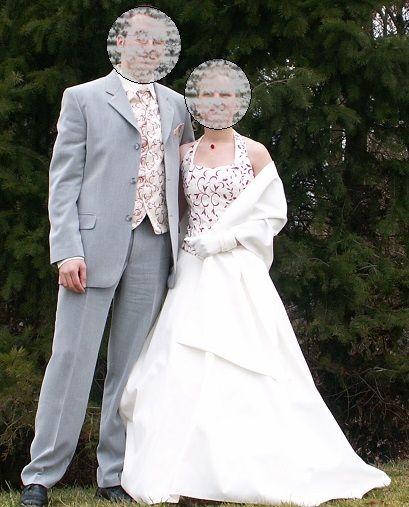 Ensemble robe de mariée + veston homme assorti d'occasion
