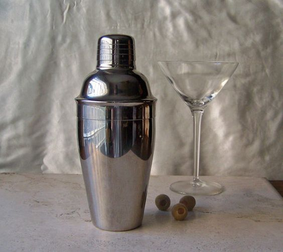 Vintage Cocktail Shaker Martini Time by cynthiasattic on Etsy, $29.00