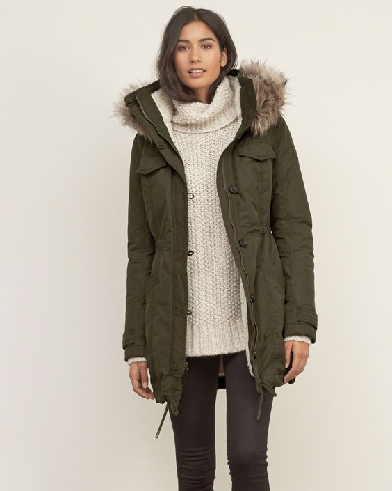 Womens Sherpa Lined Military Parka | Military-inspired warm and
