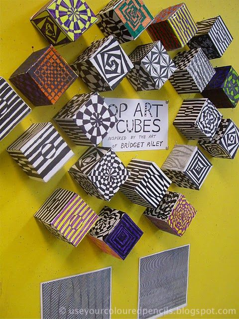 """Displayed optical illusions on cubes - inspired by the artist Bridget Riley ("""",)"""