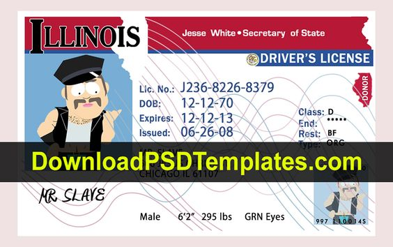 Illinois Drivers License Psd Template Drivers License Illinois