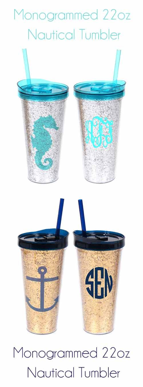This is a Summer MUST HAVE! $24.99 Monogrammed 22oz Nautical Tumbler from - marleylilly.com - I love the silver and tiffany blue!!!!