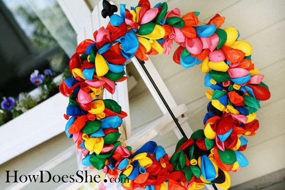 (wreath) birthday balloon wreath: Birthday Balloon, Kids Birthday, Birthday Decoration, Wreath Idea, Party Idea, First Birthday
