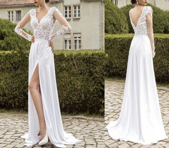 Long Sleeve Prom Dresses,Sheer Prom Dresses,V-Neck Prom Dresses:
