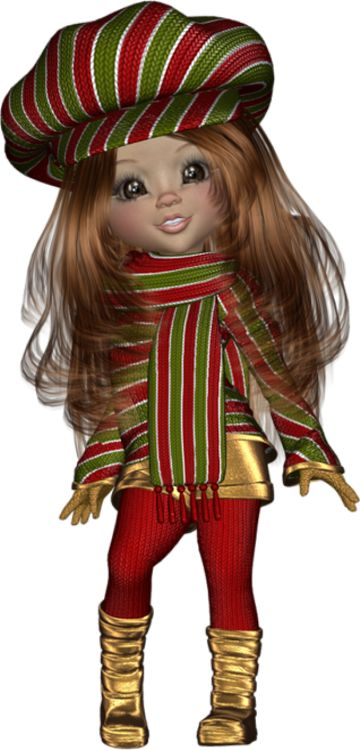 Hiver : tube cookie - Holidays Poser doll - Posertuben