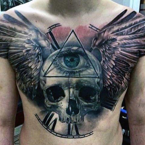 50 Skull Chest Tattoo Designs For Men Haunting Ink Ideas Chest Tattoo Men Cool Chest Tattoos Wing Tattoo Men