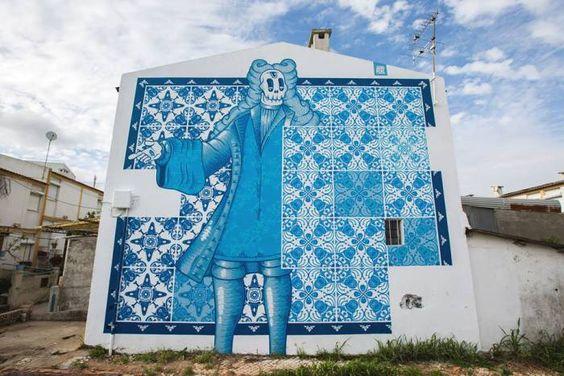 Lisbona, Portogallo: nuovo pezzo dello street artist portoghese Diogo Machado aka Add Fuel per il MURO Festival.