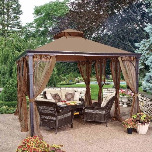 Sunjoy 10 X 14 Ft Replacement Canopy Cover For L Gz212pst Dustin Gazebo Gazebo Backyard Gazebo Pergola Designs
