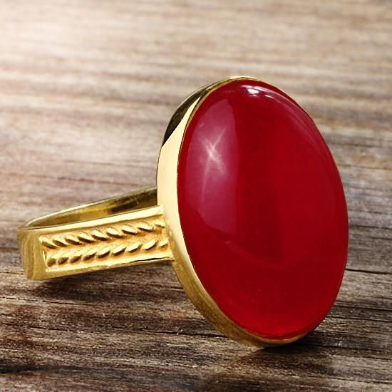 Agate Men S Ring In 10k Yellow Gold Natural Red Stone Ring For Men Stone Rings For Men Rings For Men Purple Agate