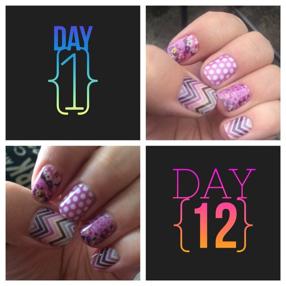 12 days with Jamberry Nail wraps. Super cute and easy nail art. www.kateegray.jamberrynails.net