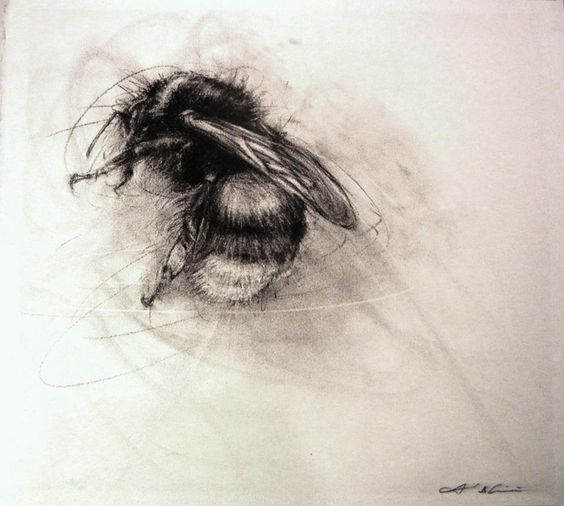 bee tattoo - LOVE THIS.  MAKES ME THINK OF IT BURROWING IN, LIKE A CICADA, OR LIKE THE FLESH IS BEESWAX.  TOO, THE BEE LOOKS INDIVIDUATED, AS IN A RECOGNIZABLE IN A STORY.  --NLR