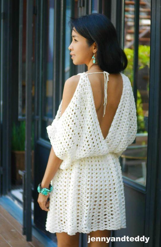 white hippie boho mini dress free crochet pattern | jennyandteddy