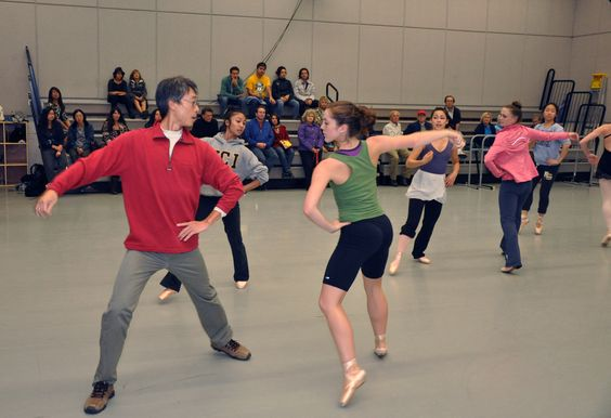 Open rehearsal of classical ballet with Dance Professor Tong Wang and students Janelle Villanueva, Danielle Dunmire, Natalie Matsuura, Alec Guthrie and Kristy Ujiiye.