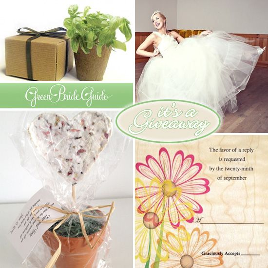 New contest started today on Best Wedding Sites - enter up to five times to win a hundred dollar gift card to Green Bride Guide's new wedding shop.
