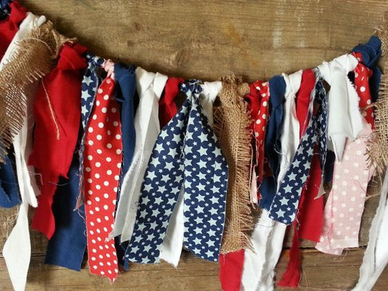 Patriotic Fourth of July Rag Tie Garland features One for the Boys Stars in Blue by Zoe Pearn for Riley Blake