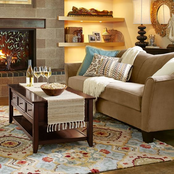 glamorous pier one living room | Diamond Scroll Rugs from Pier One - like the rug, sofa ...