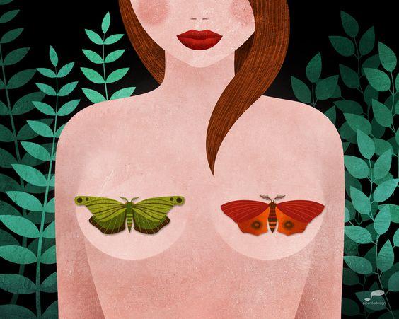 #illustration #illustrazione #night #butterfly #forest #woman #digital_art