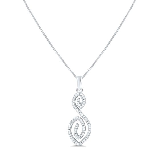 """Sterling Silver Cz Letter S Initial Necklace 18"""""""