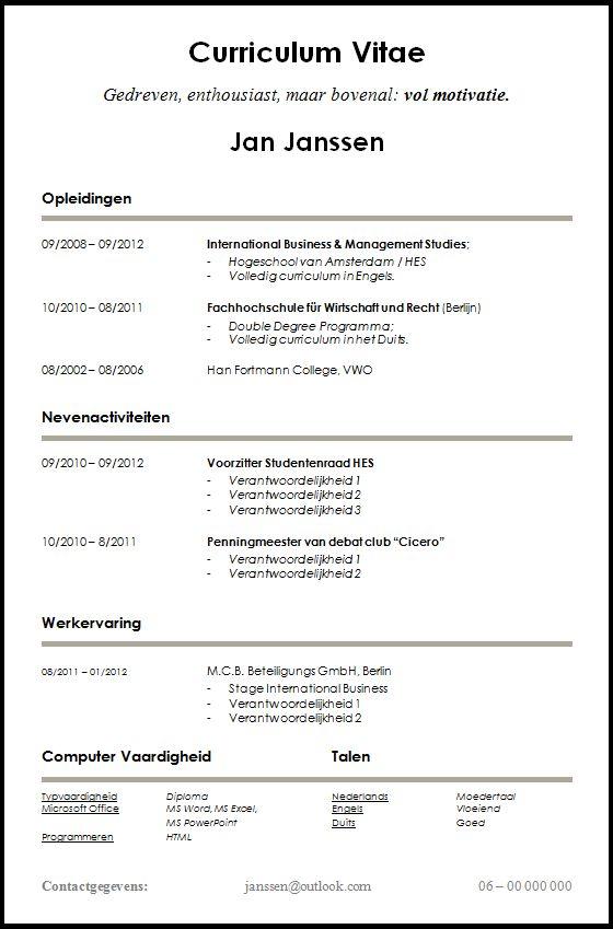 Voorbeeld CV voor Starters en Studenten. Dit cv is gratis te ...