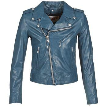 Vestes+en+cuir+/+synthétiques+Schott+INDIGNO+Bleu+375.00+€