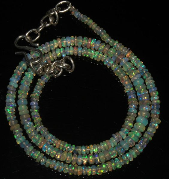 """27Crts 1 Necklace 2to4mm 16"""" Beads Natural Ethiopian Welo Fire Opal  57086"""