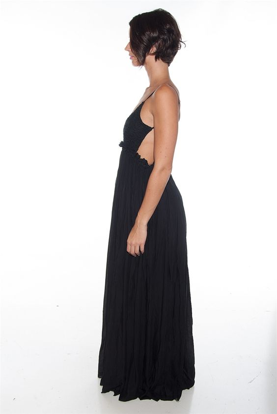 Back in the Groove Open Back Maxi Dress - Black from Miss Avenue at Lucky 21