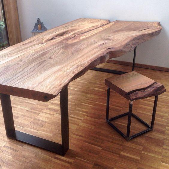 massivholztisch baumtisch massivholzplatte esstisch holztisch aus ulmenholz urlaub. Black Bedroom Furniture Sets. Home Design Ideas