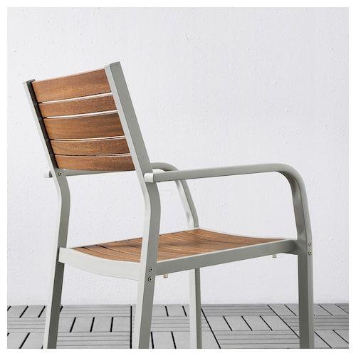 SJÄLLAND Tavolo+4 sedie da giardino, marrone chiaro, grigio