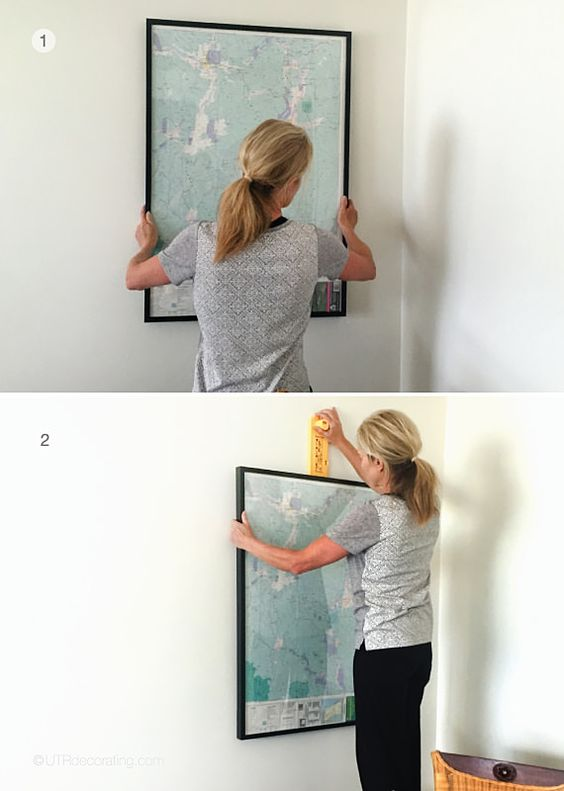 Here's how I hung my maps.  I started with the biggest one and the one closest to the wall, then...