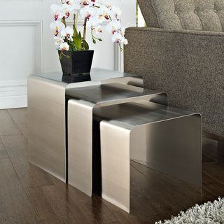 @Overstock.com - Rush Stainless Steel Nesting Set - Cubism used to be a movement set on portraying three-dimensional forms on two-dimensional surfaces ? but this wasn?t enough. Try as they may, the objects remained flat to the touch. Nesting tables hav...  http://www.overstock.com/Home-Garden/Rush-Stainless-Steel-Nesting-Set/8232686/product.html?CID=214117 $399.99