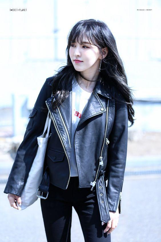 Black Leather Jacket Fashion Of Red Velvet Wendy Wanita Gaya Model Pakaian Korea Gaya Model Pakaian