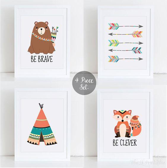 Stammes-Kinderzimmer Wand Set, Pfeil bedruckbar, werden tapfere Bär sein Clever Fox, Kinderzimmer Wand druckbare, Kinderzimmer Wand Set, Tipi-Print, Kinder drucken