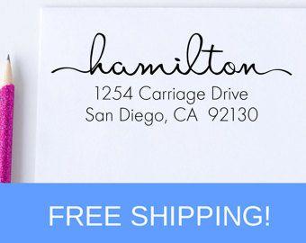 Wood Block Address Stamp Curly Return Address by FreshInkStamps