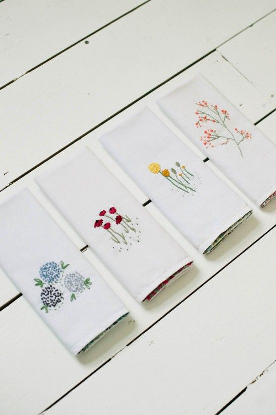 Embroidered napkin tutorial liberty print napkins