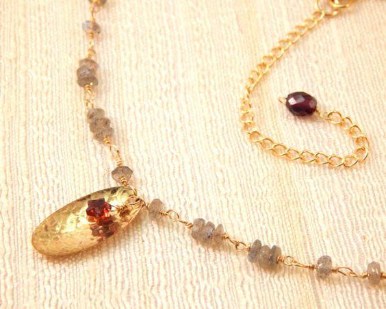 Hidden Star Necklace Garnet Labradorite Gold by FemininePersonae