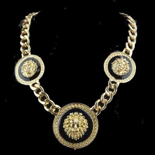 Goldkette Medusa Löwenkopf Gold schwarz 18K plated