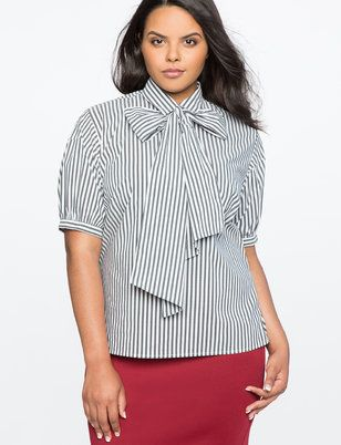Short Sleeve Bow Blouse from ELOQUII