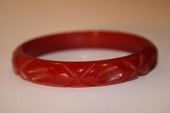 Vintage Red Bakelite Carved Bracelet   Vintage Duds and Decor