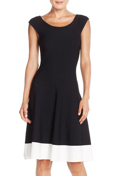 Eliza J Eliza J Colorblock Fit Flare Sweater Dress Regular