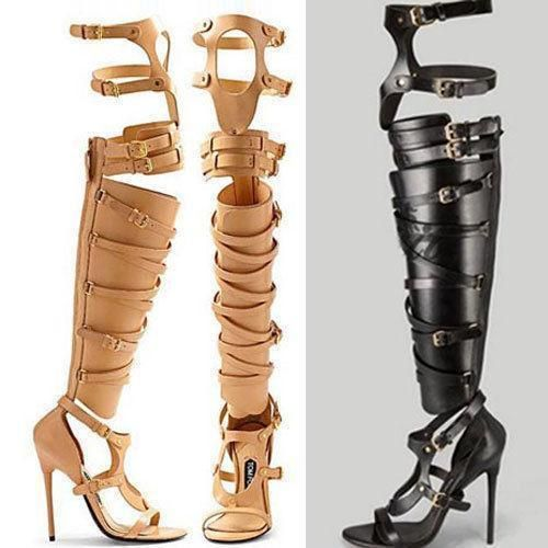 New Gladiator Womens High Heel Sandals Buckle Over Knee Gold Boots Roman Shoes Gladiator Shoes Gladiator Sandals Heels Gold Boots