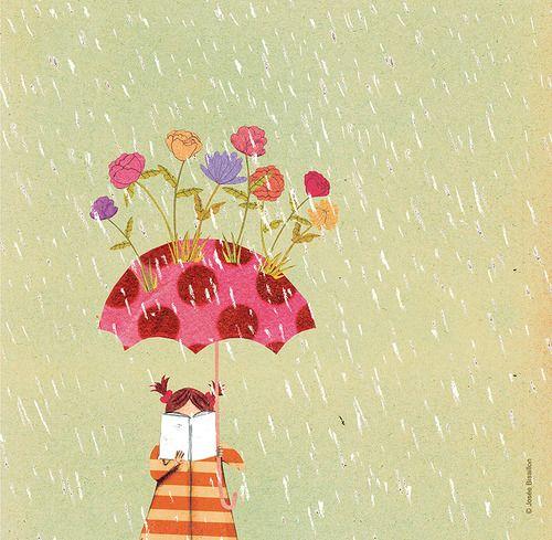 Read… in spring / Lectura…en primavera (ilustración de Josée Bisaillon):