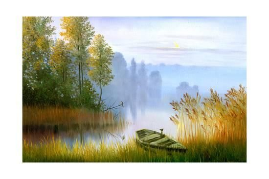 Wooden Boat On The Bank Of Lake On A Decline Prints By