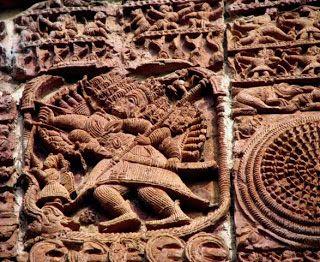Ravana in his chariot: Ramchandra Temple,Guptipara,WB,India.