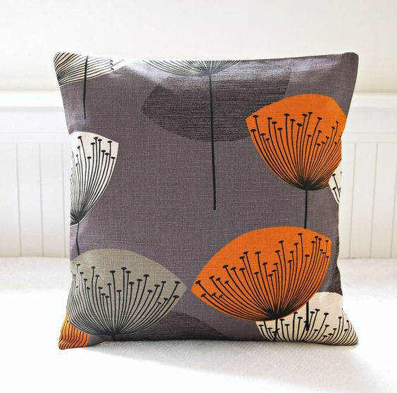 Dandelion clocks orange slate grey decorative pillow cover, gray dandelion cushion cover 16 inch ...