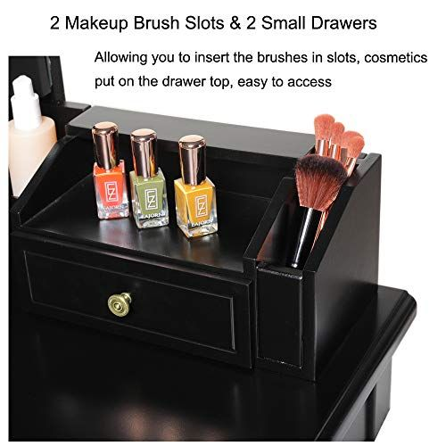 IWELL Tri-Folding Mirrors Vanity Set with 3 Colors LED Lighting 5 Drawers Makeup Table with 1 Removable Organizer Dressing Table Dresser Desk for Bedroom